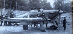 Hurricane being serviced by WRENs at RNAS Yeovilton in WW2