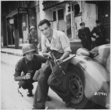Partisan with Sten gun in Paris, 1944