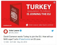 Twitter post about Turkey showing lie told by Leave campaign